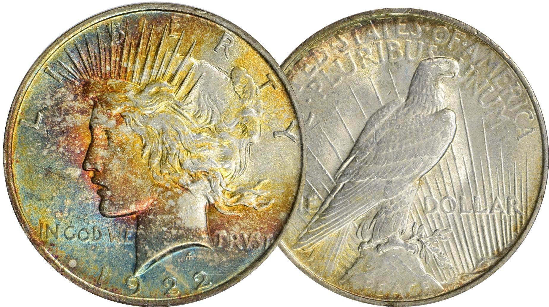 Peace Dollar Rainbow Toned