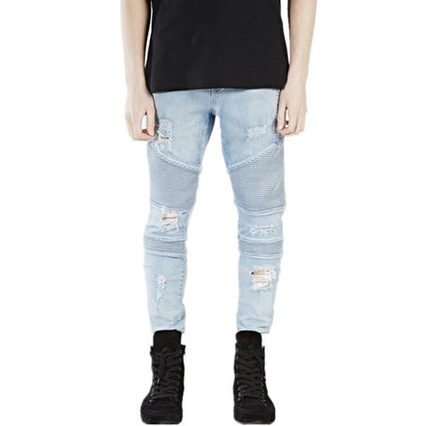 Light Skinny Destroyed Jeans