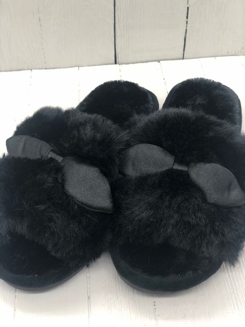 Satin Bow Slippers - Black