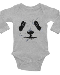 Cute Panda Face Baby Onesie, Infant Long Sleeve Bodysuit, Adorable Panda Clothes For Baby-Baby onesies-4Endangered