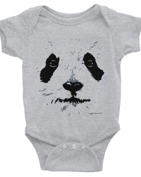 Cute Panda Face Baby Onesie, Infant Short Sleeve Bodysuit, Adorable Panda Clothes For Baby-Baby onesies-4Endangered