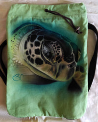 Cute Turtle Drawstring Animal Backpack Airbrushed Green With Brown Straps-Backpack-4Endangered