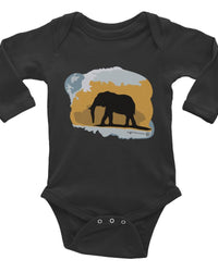 Elephant Design Baby Onesie, Infant Long Sleeve Bodysuit, Cute Elephant Clothes For Baby.-Baby onesies-4Endangered