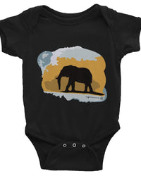 Elephant Design Baby Onesie. Infant Short Sleeve Bodysuit, Cute Elephant Clothes For Baby.-Baby onesies-4Endangered