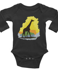 Giraffe Design Baby Onesie, Infant Long Sleeve Bodysuit, Cute Giraffe Clothes For Baby.-Baby onesies-4Endangered