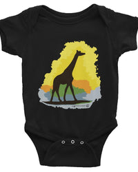 Giraffe Design Baby Onesie, Infant Short Sleeve Bodysuit, Adorable Giraffe Clothes For Baby.-Baby onesies-4Endangered