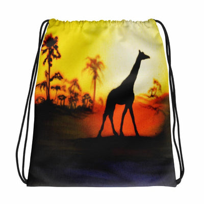 Giraffe Drawstring Backpack/Bag With Black Drawstring-Drawstring Backpack-4Endangered