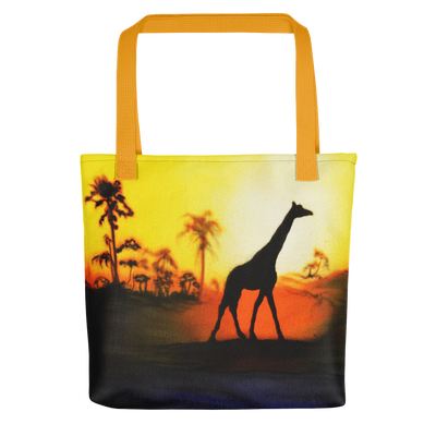 Giraffe Tote Bag Compact, Colorful, Giraffe Design Three Color Handles-Totes-4Endangered