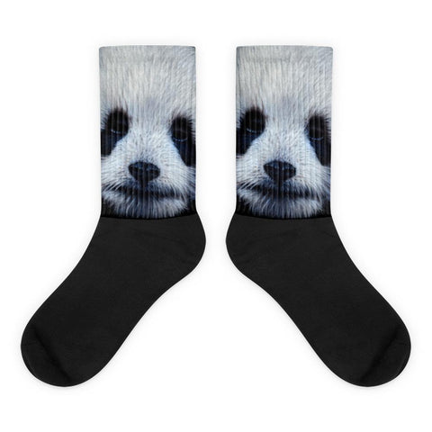 Panda Bear Black Foot Socks Comfy, Cute Socks For Panda Lovers-Socks-4Endangered