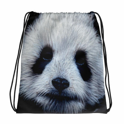 Panda Bear Drawstring Backpack/Bag With Black Drawstrings-Drawstring Backpack-4Endangered