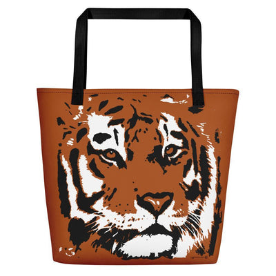 Tiger Orange Big Beach Bag For Tiger Lovers-Beach Bags-4Endangered