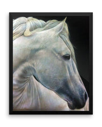 White Horse Framed Poster Print Detailed Horse Wall Art-Framed Poster Prints-4Endangered