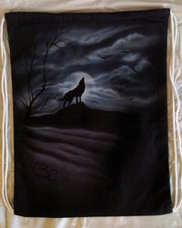 Wolf Moon Silhouette Drawstring Backpack Airbrushed-Backpack-4Endangered