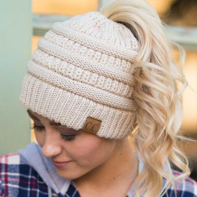 533e7656048ad Soft Knit Ponytail Beanie – tommorow s shop