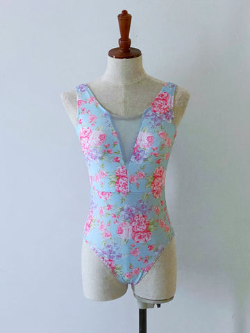 Asha Leotard - Blue Floral