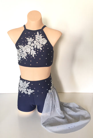 Navy and Silve/Grey Lyrical / Contemporary Costume Size 10 child