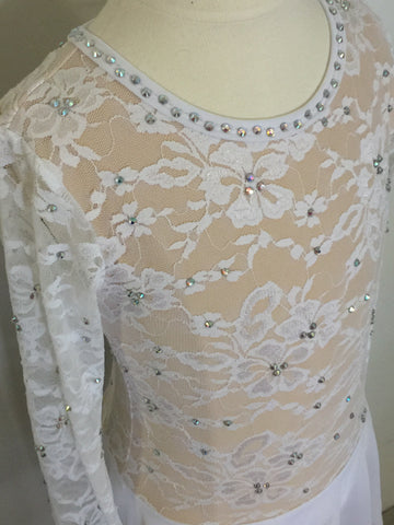 White Lace and Mesh Lyrical Costume Size 8 child