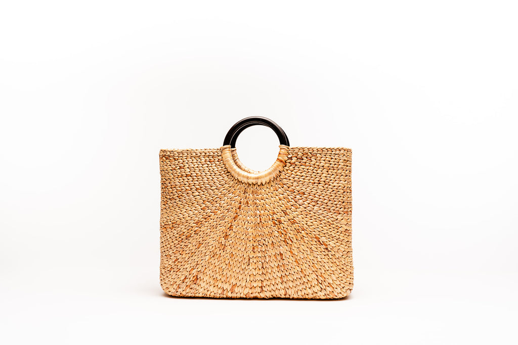 Sara wooden handle tote
