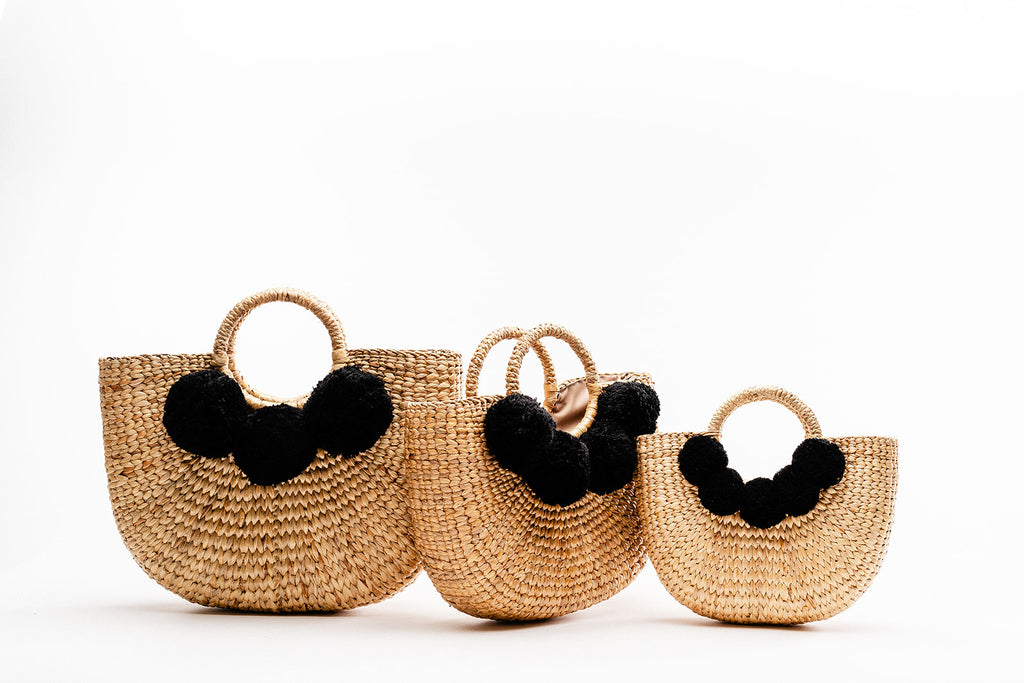 Camryn Tote with Black Pom Poms (Multiple sizes)