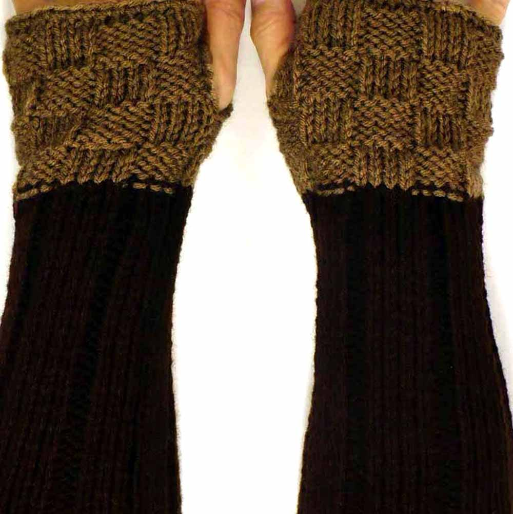 Two Tone Brown Fingerless Mittens,  Warm Winter Gloves, Fall Fashion Accessories