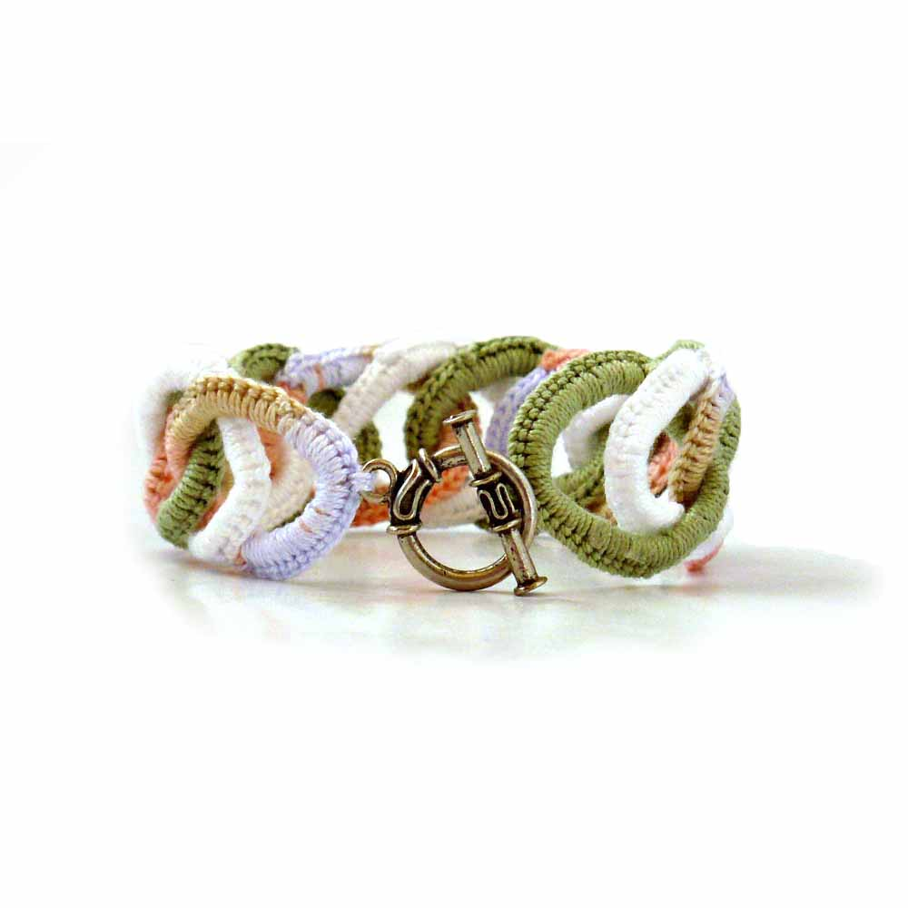 White, Peach, Sage, Tan Bracelet
