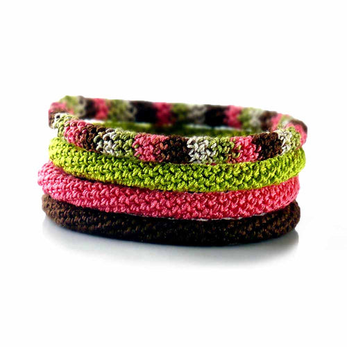 Fiber Bangle Bracelets by Nothingbutstring