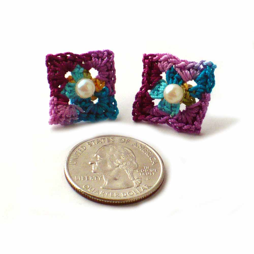 Dark Teal, Berry, Purple, Orange, Turquoise Earrings