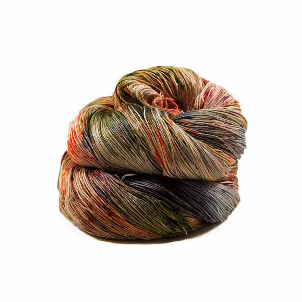 Orange, rust brown, green, and black cherry colorway by Nothingbutstring