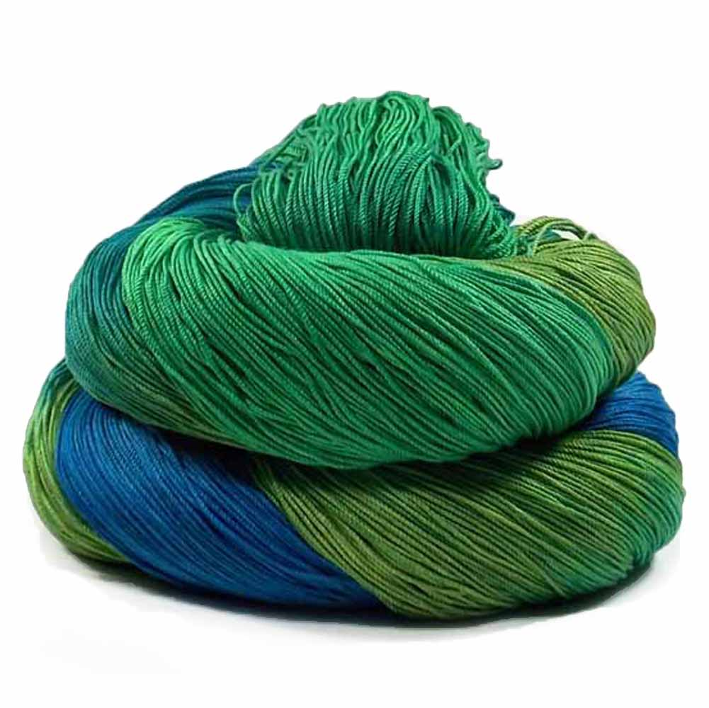 Blue, 2 shades of green, aqua, and teal thread by Nothingbutstring