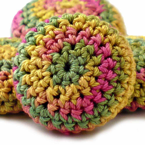 Nothingbutstring Buttons Handmade Crochet Cover Buttons in Fuchsia Yellow and Green