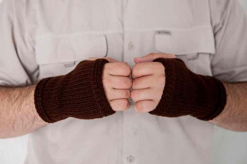 Nothingbutstring Gloves Dark Brown Mens Fingerless Mittens