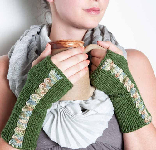 Green Fingerless Mittens by Nothingbutstring