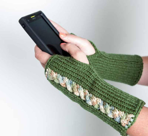 Nothingbutstring Gloves Green Knit Cable Fingerless Mittens