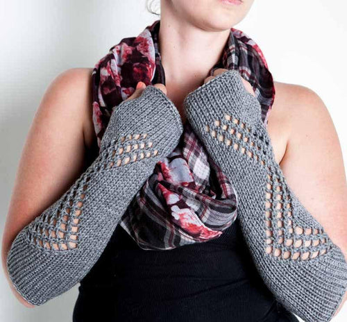 Nothingbutstring Gloves Grey Knit Lace Fingerless Arm Warmers