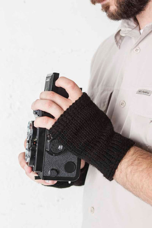Nothingbutstring Gloves Handmade Wrist Length Mens Black Fingerless Gloves