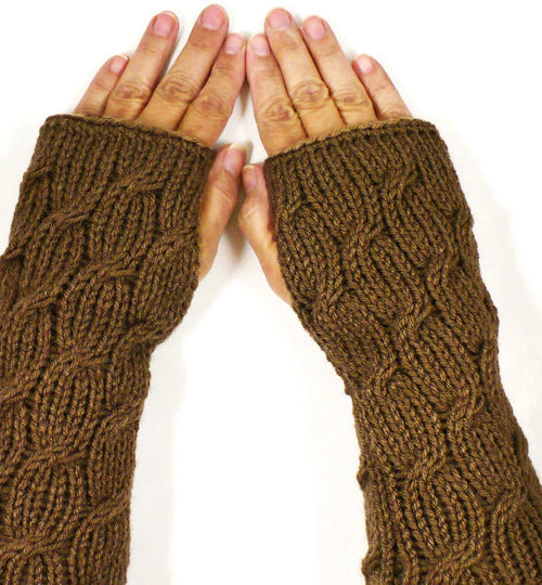 Nothingbutstring Gloves Knit Cable Fingerless Mittens in Cafe Brown