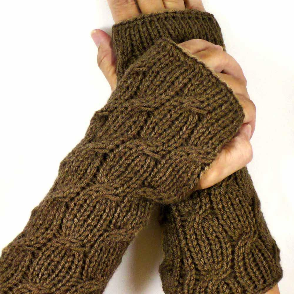 Cable Fingerless Mittens by Nothingbutstring