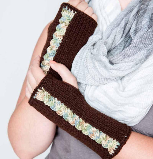 Nothingbutstring Gloves Knit Dark Brown Fingerless Gloves With Multi-colored Cable