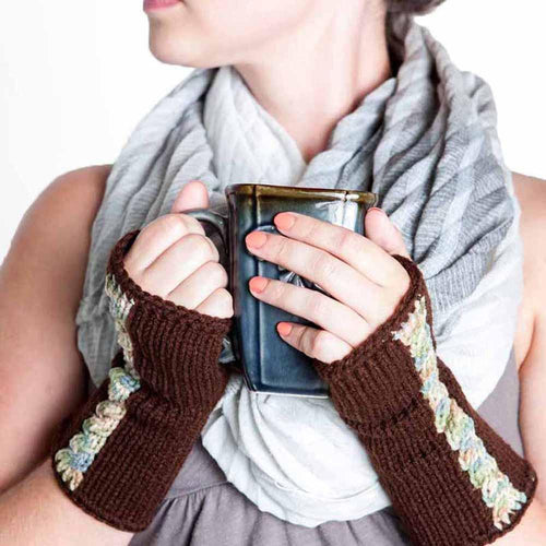 Dark Brown Fingerless Gloves by Nothingbutstring