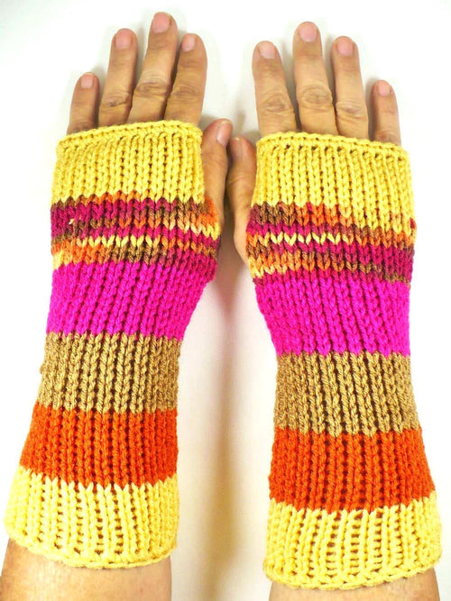 Orange Striped Gloves by Nothingbutstring