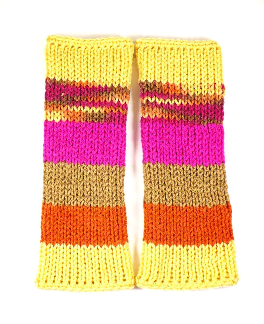 Nothingbutstring Gloves Knit Fingerless Gloves in Striped Yellow Brown Fuchsia and Orange