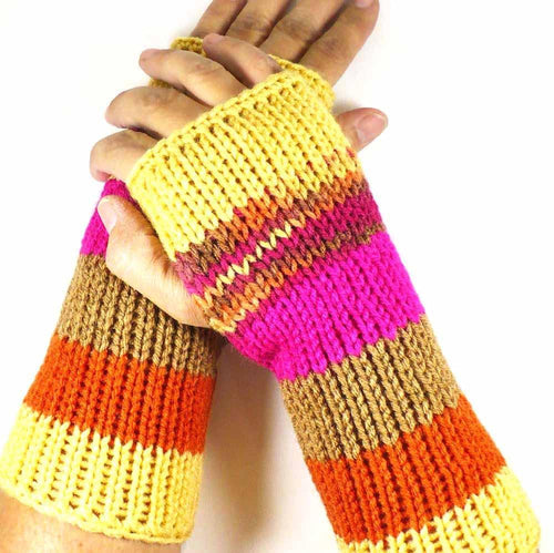 Yellow Fingerless Gloves by Nothingbutstring
