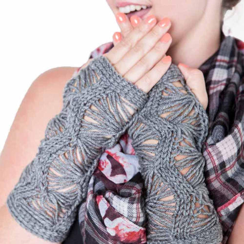 Nothingbutstring Gloves Knit Gray Gothic Fingerless Arm Warmers