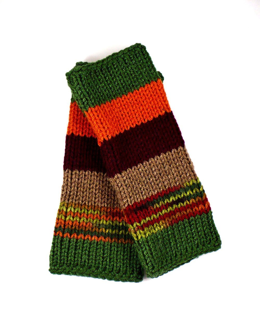 Nothingbutstring Gloves Knit Handmade Striped Forest Colored Fingerless Arm Warmers in Green Orange Burgundy Brown