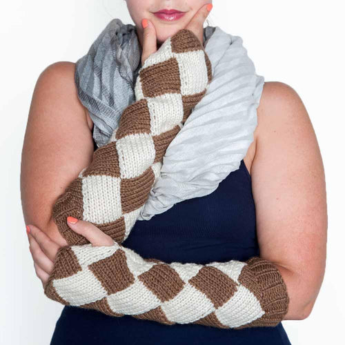 Nothingbutstring Gloves Long Length Warm Brown and Cream Knit Fingerless Mittens