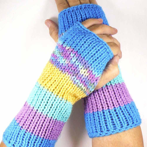 Nothingbutstring Gloves Medium Length Blue Light Purple Turquoise Yellow and Multi Colored Fingerless Gloves