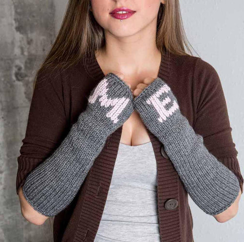 Nothingbutstring Gloves Personalized Women's Knit Fingerless Gloves in Grey and Pink