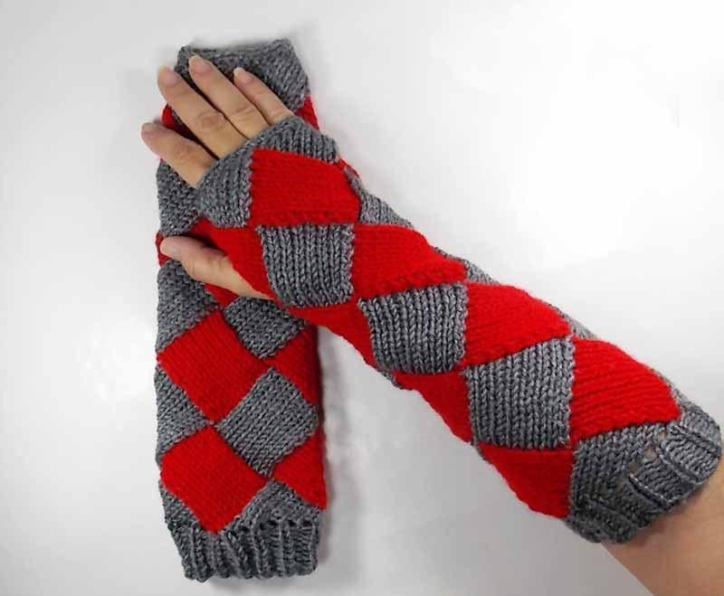 Nothingbutstring Gloves Red and Grey Elbow Length Entrelac Knit Fingerless Arm Warmers