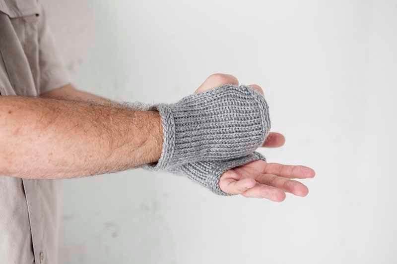 Nothingbutstring Gloves Steel Grey Men's Knitted Fingerless Wrist Warmers