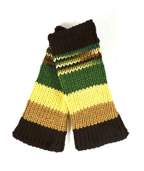 Nothingbutstring Gloves Striped Green Brown Yellow Beige and Camo Multi Colored Medium Length Fingerless Gloves